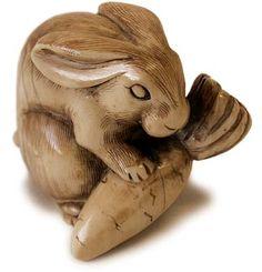 Antique Japanese Carved Ivory Rabbit Netsuke Signed