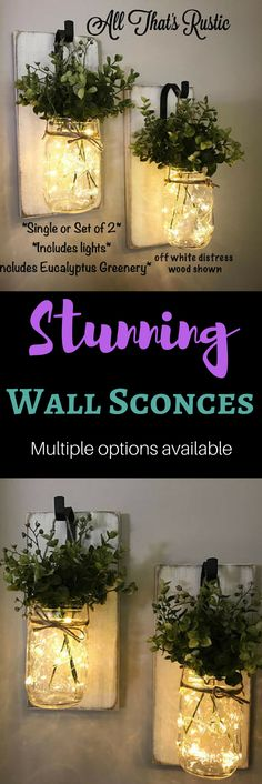 This listing is for a stunning Single or Set of 2 Hanging Wall Sconces! These sconces feature beautiful artificial eucalyptus greenery and fairy lights that are battery operated. They are so warm and charming and would make a great addition to any room in your home! These make a great unique gift for any occasion as well! #HomeDecor #HangingWallSconces #HangingWallDecor #RoomIdeas #IndoorPlants #DiyRoomDecor