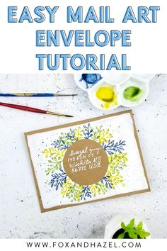 Learn how to create this beautiful mail art envelope with just a handful of supplies! Watercolor Fox, Watercolor Ideas, Watercolor Paintings, Envelope Art, Envelope Lettering, Envelope Tutorial, Mail Art Envelopes, Art Journal Techniques, Printable Designs
