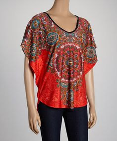 Loving this Brick Red Cutout Top on #zulily! #zulilyfinds