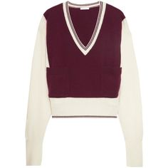Chloé Two-tone cashmere sweater (19.817.235 IDR) ❤ liked on Polyvore featuring tops, sweaters, burgundy, v neck tops, chloe sweater, purple cashmere sweater, purple v neck sweater and drop shoulder sweater