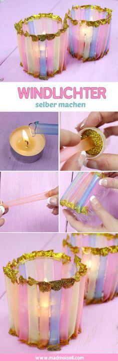 Bunte DIY Windlichter aus Gläsern und Strohhalmen basteln – Einfache DIY Deko Idee für Herbst oder Winter! 💗