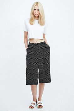 Cooperative Printed Culottes in Black - Urban Outfitters