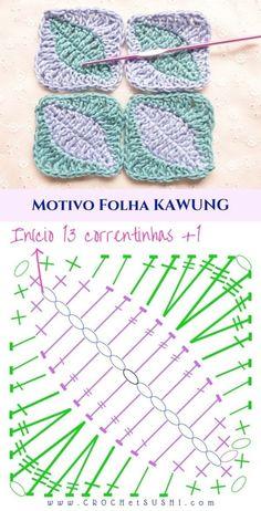 Motivo folha Kawung de crochê passo a passo e gráfico