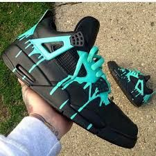 e7643aab0b04 Custom Jordan iv sneakers black turquoise dripping paint ღ ♡ ♡ ღ