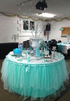 Cheap tulle table, Buy Quality shower shower directly from China shower baby shower Suppliers: 2200 x Tiffany Blue Theme Organza Sheer Tulle Roll Rustic Wedding Party Decoration Spool Craft Table Runner Baby Shower Tiffany Party, Tiffany Theme, Tiffany Wedding, Sweet 16 Birthday, Birthday Parties, Bunco Party, Blue Birthday, Tiffany Baby Showers, Tiffany's Bridal