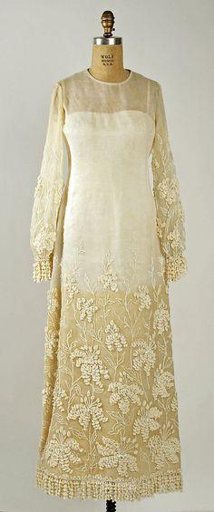 Marc Bohan for Dior, 1964. Wedding Ensemble: Cotton and beading.