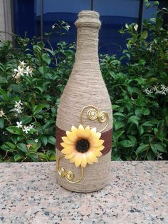 Paper sunflower, sunflower wedding, decorated wine bottle, rustic wedding, sunflower decor, wrapped wine bottle, wine bottle decor
