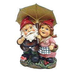 Rainy Day Gnomes Under an Umbrella Garden Statue. When you could use a little gnome magic in a garden flowerbed or vegetable plot, our Design Toscano Garden Gnome Statue is at the ready! #adorable #rainy #gnomes