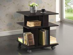 Baxton Studio Warren Dark Brown Wheeled Modern Storage Shelf - RT247-OCC (L)