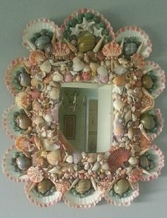 Hollywood Regency Vintage Seashell Shell Mirror Tropical MID century modern