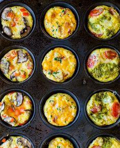 Eggs In Muffin Tin, Muffin Tin Recipes, Egg Recipes, Brunch Recipes, Breakfast Recipes, Cooking Recipes, Recipies, Breakfast Ideas, Muffin Egg Bake