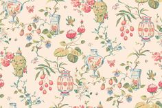 Fishbowl (839-T-6143) - Thibaut Wallpapers - A floral trail with a 30's feel, brightly coloured flowers, with fishbowls, lanterns and turtle motifs on cream. Wide width, Vinyl Coated. Please request sample for true colour match.Delivery for this American wallcovering is 7-10 working days