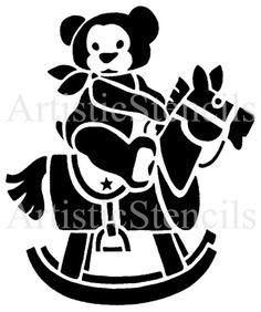 Teddy Bear on Rocking Horse Stencil