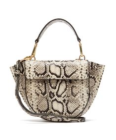 Hortensia Mini Python Effect Leather Bag - Multicolor - Wandler Shoulder bags Leather Crossbody Bag, Leather Bag, Black Leather, Quoi Porter, Jeans And Sneakers, Friends In Love, Python, Timeless Fashion, Shopping Bag