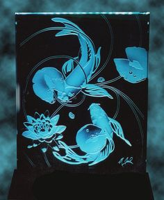 Sandcarved Koi Edgelit Light SOLD Made to by stainedglassfusion, $149.00