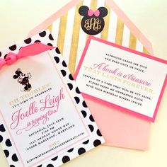 Gold and pink #Minnie Mouse #birthday party #Invitation, finished with a hot pink bow I Custom by Nico and Lala