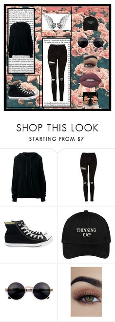 """""""Black"""" by killerbarbiexoxo-123 on Polyvore featuring Unravel, Topshop, Converse and Lime Crime"""