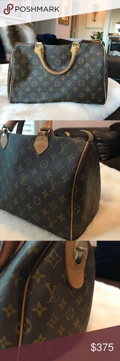 Authentic Speedy 30✨Vintage 1979 ✨Make an Offer 👍 100% Authentic.   Vintage Speedy 30 from Beverly Hills 1979.  In the 70s, LV's did not have date stamps, but there is an LV tag inside.  There is normal wear & tear for a 35+ year bag. For an old Gal, she's doing great & has some fabulous years ahead!  See photos for signs of wear.  Leather handles patina'd & aged w/ some cracks. There is a small crack in canvas above 2 of the handles. Leather tab on right side curves upward from age & metal…