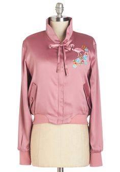 Mix and Flamingo Jacket. When you mingle with the most fabulous of fashionistas youre bound to impress in this silky pink jacket! #pink #modcloth