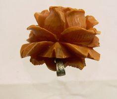 Butterscotch Bakelite Carved Rose Deeply Carved Bakelite Rose Pendant 1930s by FineRedefined,  on etsy.com
