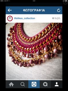 Handmade crocket necklace !full of beads. handmade in greece