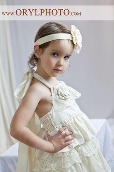 Ivory Dress Ruffled dress Flower Girl halter dress by LaParisLaur, $52.00