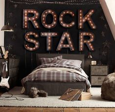 Create a musical environment within your home. One way is to create a music bedroom theme. You can create a music bedroom theme by adding a few touches. Bedroom Themes, Girls Bedroom, Bedroom Decor, Bedroom Ideas, Rock Bedroom, Teen Bedrooms, Boys Star Bedroom, Bedroom Lighting, Bedroom Designs