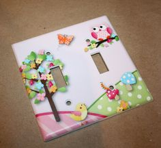 Owls Love Birdies Girls Bedroom Double Light Switch Cover on Etsy, $12.00