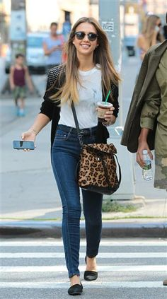 The fashion darling showed her preppy side in skinny jeans, a One Grey Day Aspen cardigan and a Whetherly tee while picking up coffee on Sept. 8, 2013.
