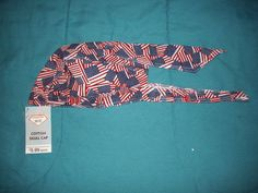 Diamond Plate™ Cotton Skull Cap with American Flag Design-Red, White and Blue
