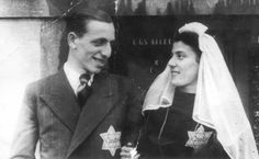 The Vuijsje couple on their wedding day. Both are wearing the Jewish badge.