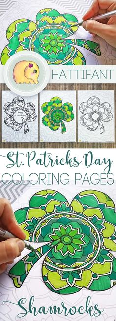 Gorgeous St Patrikck's Day Colouring pages. Have a go at these Lucky Shamrock Mandalas. Beautiful #shamrock #coloringpages #stpatricksday