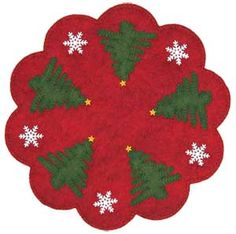 Christmas Trees Penny Rug, felt applique and embroidery