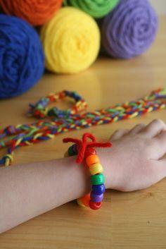 Fine Motor skill builder - string rainbow beads on pipe cleaner