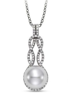 Mastoloni Pearl & Diamond Drop Infinity Pendant! Available at Houston Jewelry!  www.houstonjewelry.com
