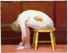 Euan Uglow, Curled nude on a stool 1982-3 Oil on canvas 30 x 39 in