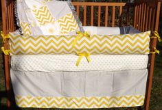 Custom Corn Yellow and Grey  Boutique Crib Bedding GENDER NEUTRAL Complete 4-Piece Set