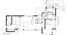 The following drawings depict the basement and first floor plan, five sections, and four elevations of E 1027. First floor plan: Baseme...