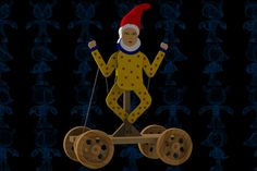 Waving Clown Pulling Wooden Toy - SOLIDWORKS,STEP / IGES,Parasolid - 3D CAD model - GrabCAD