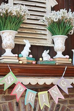 (Sugar Pie Farmhouse) Spring Mantel. Love  the use of the vintage books.