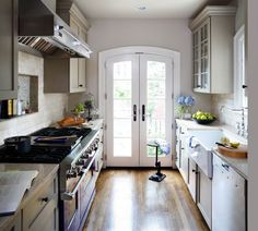 Beau Arched French Doors In Galley Kitchen By Wentworth Studio
