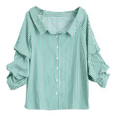 Puff Sleeve Single Breasted Striped Shirt (82 MYR) ❤ liked on Polyvore featuring tops, blouses, puff sleeve top, green striped shirt, puff sleeve blouse, shirt blouse and striped top