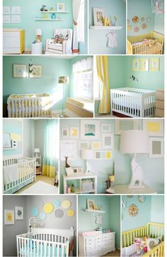 Mint and yellow nursery