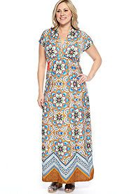 New Directions® Plus Size Empire Waist Maxi Dress Just ordered this dress, I love the colors and pattern on it.