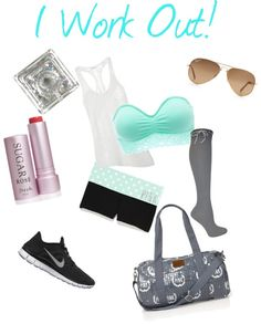 """I Work Out! (workout attire)"" by maggiepolley ❤ liked on Polyvore"