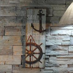 Nautical Decor Rustic Wood Sign Plaque Wall Art Picture Anchor Design #A