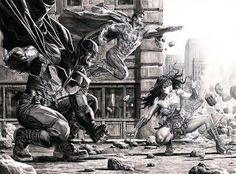 """Trinity"" by Lee Bermejo DC Comics - Superman - Batman - Wonder Woman Comic Book Artists, Comic Book Characters, Comic Book Heroes, Comic Artist, Comic Books Art, Superhero Characters, Dc Heroes, Batman Wonder Woman, Batman And Superman"