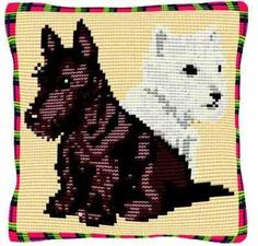 Highlanders - Cross Stitch Kit (printed canvas). A cute dog design featuring a white West Highland Terrier 'Westie' and a black Scottish terrier - stitched in cross stitch on printed 5hpi canvas.  Designed by Brigantia Needlework.