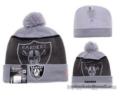 de692476fc7 Mens   Womens Oakland Raiders New Era NFL Fashion Gold Collection  Liquidchrome Logo Cuff Knit Beanie Hat With Pom - Grey   Graphite